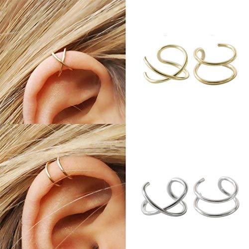 Ruilinyang Minimalist 4 Pcs S925 Sterling Silver Criss Cross Ear Cuff No Pierce Ear Cuff Sets Double Simple Lines