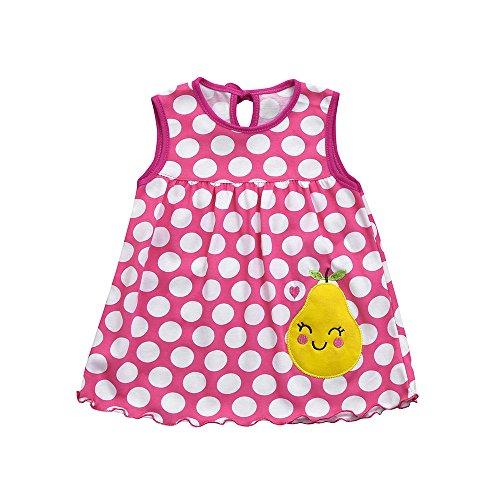 Creazrise Toddler Cute Baby Cotton Fruit Print Soft Children Dot Striped Tees Dress T-Shirt Vest Hot Pink