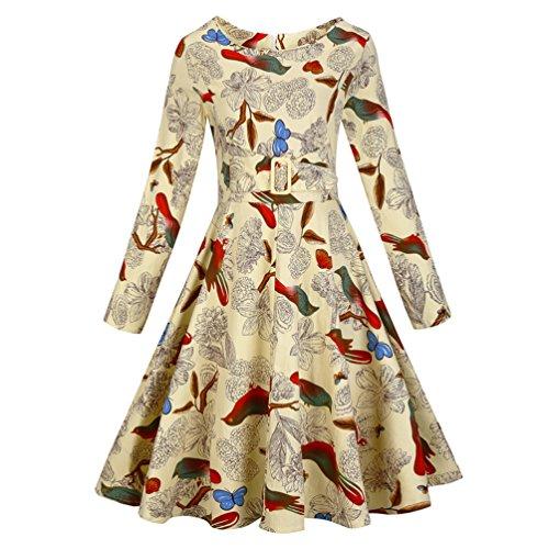Armear Womens Long Sleeve Retro Vintage Bird Print Rockabilly Swing Tunic Dress (L/US 8, Bird (That 70s Show Outfits)
