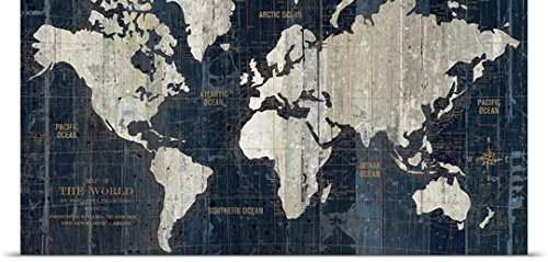 Great Big Canvas Poster Print entitled Old World Map Blue
