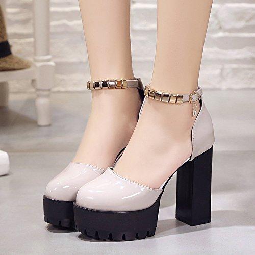 Sandali Summer Della Laccata Baotou Taiwan Con KHSKX High Impermeabile gray Heeled Violento European Parola Pelle New 5qxpxF86w