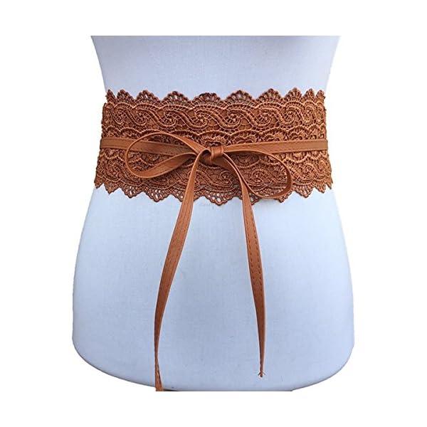 Toptim Women's Lace Belt Bow Tie Wrap Faux Leather Boho Band Corset 3-Pack