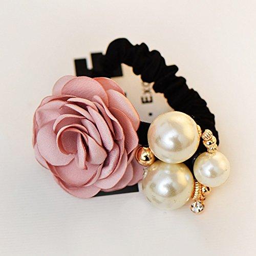 Flower Rhinestone Fashion Ring (Lovef 1pc New Fabric Camellia Flower Pearl Design Fashion Ponytail Hair Ties Hair Ring Rhinestone Hair Rubber Band (Purple))