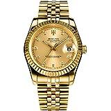 Gosasa Men Full Gold Teel Watch Men Automatic Mechanical Self-wind Watch Designer Dress Men Wristwatches
