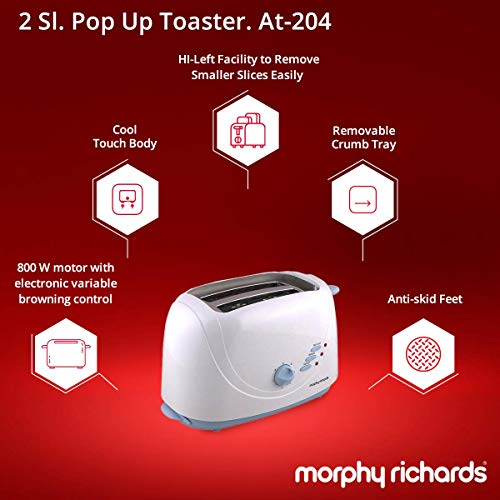 Morphy Richards AT 204 2-Slice 800-Watt Pop-up Toaster (White and Blue)