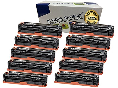 HI-VISION Compatible CF210X Black (HP 131X) Premium High Yield Toner Cartridge Replacement for LaserJet Pro 200 MFP M276nw, M276n, M251nw, M251n Color Laser Printers (10 packs) ()