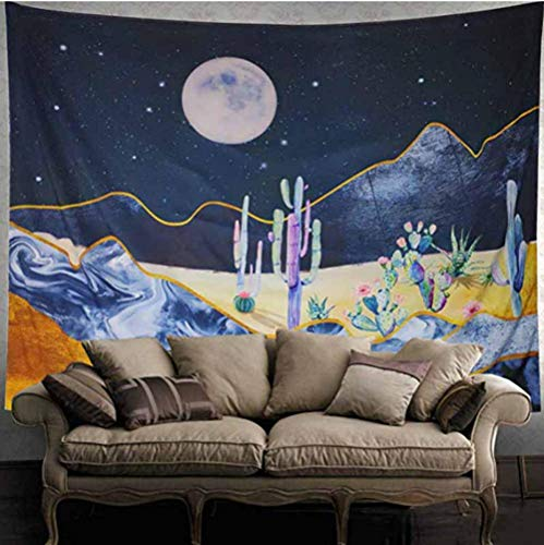 zhj888 Decorative Starry Sky Cactus Tapestry Wall Hanging Bedspread Bedroom Bar Background Wallpaper Landscape Wall Tapestries Tapestry200X150Cm