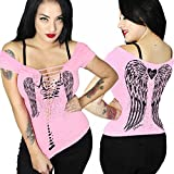 Sexy Women's Biker Tee| Gothic Slashed Angel Wings Pastel Goth Tattoo T-Shirt