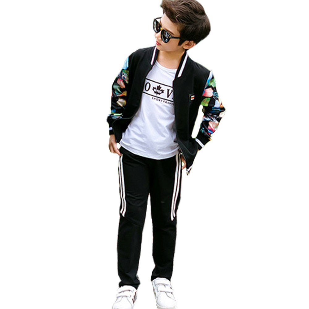 OnlyAngel Boys Casual Tracksuits Floral Print Sleeve Jacket and Sports Pant Size 3-12 (7-8 Years, Black)