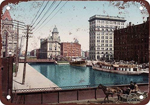 1900 Erie Canal at Salina Street Syracuse Vintage Look Reproduction Metal Tin Signs Decoration for Home Bar Garage Store Yard Office Sign (Canal Street Stores)