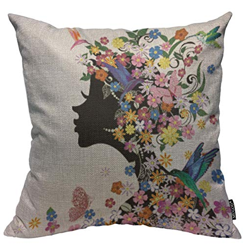 Mugod Beautiful Girl Throw Pillow Cover Fashion Floral Decorative Hairstyle Girl and Butterfly Bird Decorative Square Pillow Case for Home Bedroom Living Room Cushion Cover 18x18 Inch