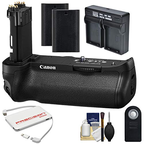 Canon BG-E20 Battery Grip for EOS 5D Mark IV Digital SLR Camera with (2) LP-E6 Batteries + Dual Charger + 5000mAh Power Bank + Kit