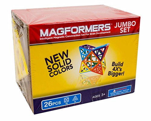 Magformers Jumbo Set (26-pieces) Large Magnetic    Building      Blocks, Educational  Magnetic    Tiles Kit , Magnetic    Construction  STEM Toy Set