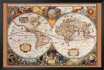 Amazon framed 17th century world map antique 36x24 art framed 17th century world map antique 36x24 art poster print wall decor gumiabroncs Image collections