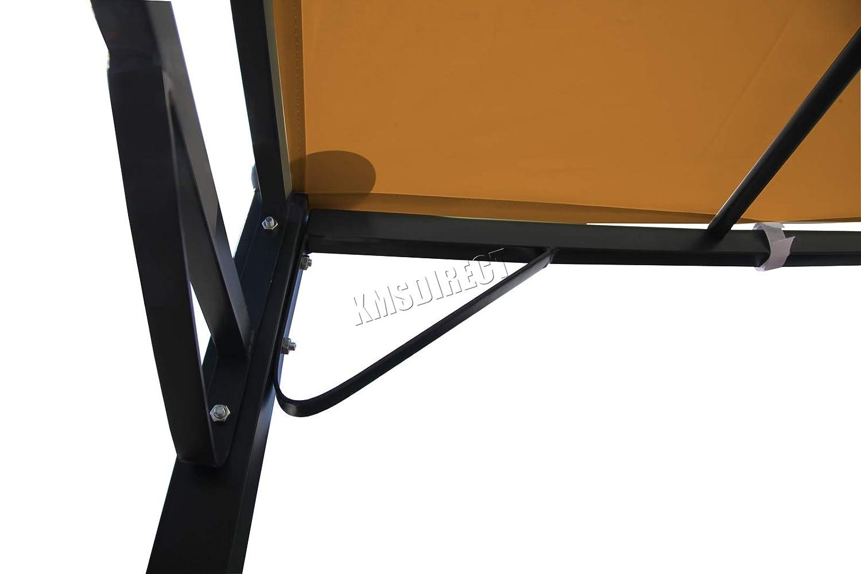 tettoia per Patio Portico Westwood Marrone Esterni Gazebo da Parete in Metallo pergola Giardino tendone 3 m x 2,5 m