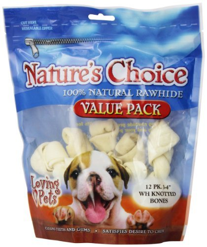 Loving Pets Nature's Choice 100-Percent Natural Rawhide White Knotted Bones Value Pack Dog Treat, 3-4-Inches, 12 Pack by Loving Pets [Pet Supplies]