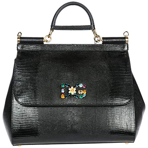 Dolce&Gabbana women's leather handbag shopping bag purse sicily black