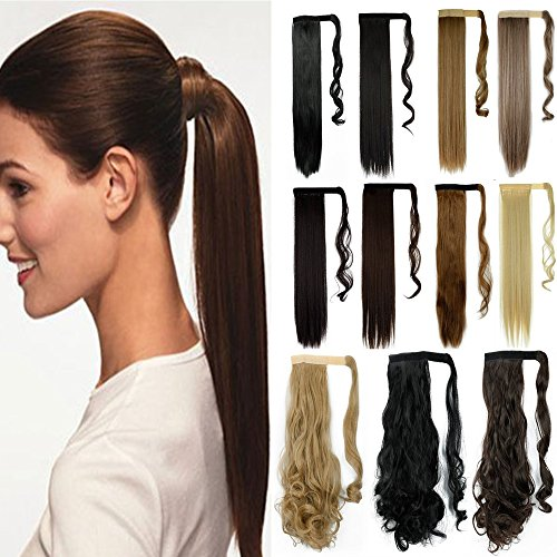 S-noilite Newest Pop Long Straight Curly Wavy Wrap Around on Ponytail Clip in Pony Tail Hair Extensions Natural Synthetic Hairpiece (23inchs-straight, dark brown)
