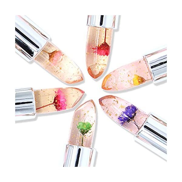 Flower Crystal Jelly Lipstick, Keepfit Beauty Bright Magic Temperature Change Color Lip Gloss for Women Girls Clearance Promotion
