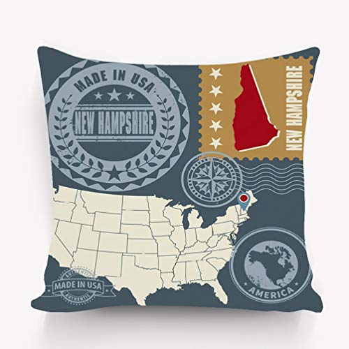YILINGER Home Decor Throw Pillow Cover Pillow Case 18 x 18 Inch Cotton Velvet for Sofa Abstract Post Stamps Set New Hampshire USA Abstract Post Stamps Set Name map New Hampshire USA
