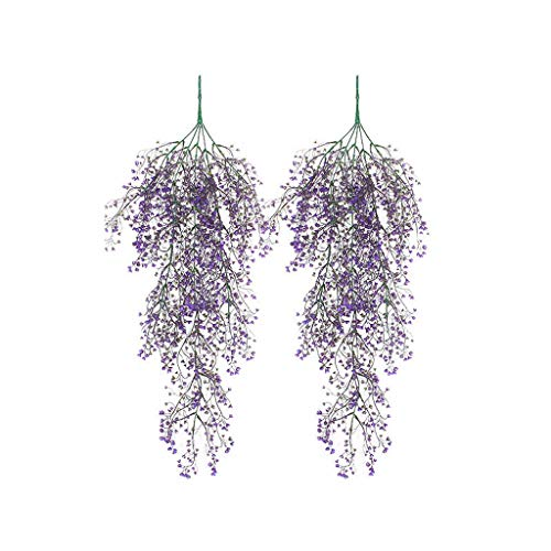 JHFUH 2Pcs Artificial Fake Silk Flower Vine Hanging Garland Plant Home Garden Wedding Decor for Bedroom Drawing Room Hotel Desk Decoration (Purple)