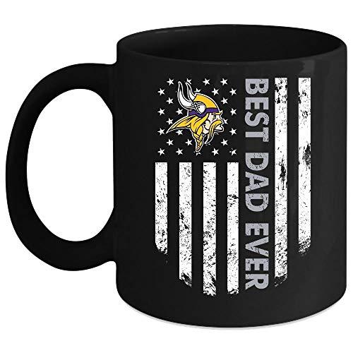 Best Dad Ever Mug, Minnesota Vikings Cup (Coffee Mug 11 Oz - Black)