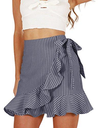 Haola Women's Casual High Waist Vertical Stripes Ruffle Mini Bodycon Skirt Black M ()