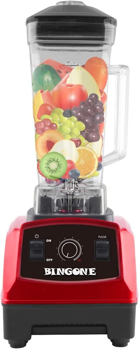 Bingone Commercial Blender,Professional Table Electric 28000 RPM High Speed Smoothie Mixer System with 2.0 Liter BPA-Free FDA Approved Tritan Jar, Nutrition Fruit Vegetable Juice Maker Red