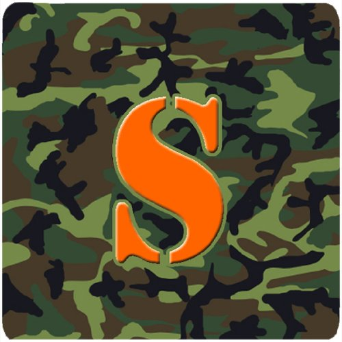 Set of 4 Initial Letter S Multicolor Carolines Treasures CJ1030-SFC Monogram-Camo Green Foam Coasters 3.5 H x 3.5 W