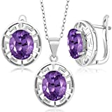 6.60 Ct Oval Purple Amethyst 925 Sterling Silver Pendant Earrings Set With Chain