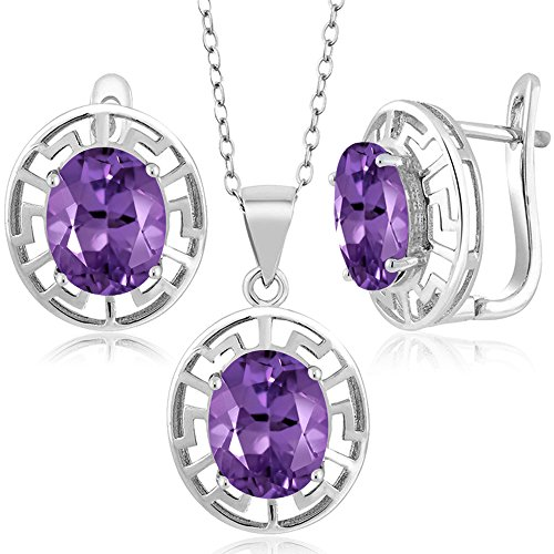 - 6.60 Ct Oval Purple Amethyst 925 Sterling Silver Pendant Earrings Set With Chain