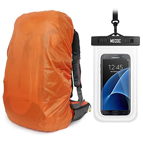 MECOC Ultralight Backpack Rain Cover with PU Stored Bag&Cellphone Waterproof Case,3 Color Available,15-90L for Camping,Hiking,Cycling,Waterproof case for iPhone 6S 6, S7 Edge,S7,Up to 6 inches