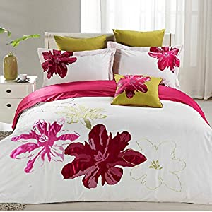 Brandream White Purple Hot Pink Luxury Bedding Sets Flower Embroidery Duvet  Covers Romantic Girls Queen/Full Size Bed Sheets Set 6Pcs