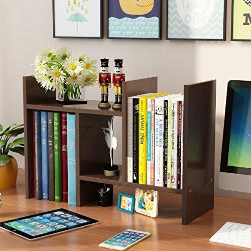 Yontree Expandable Wood Desktop Storage Organizer Multipurpose Desk Bookshelf Display Shelf Rack Counter Top Bookcase for Office Home 27.6x7.8x15.7 Inches Walnut Brown ()