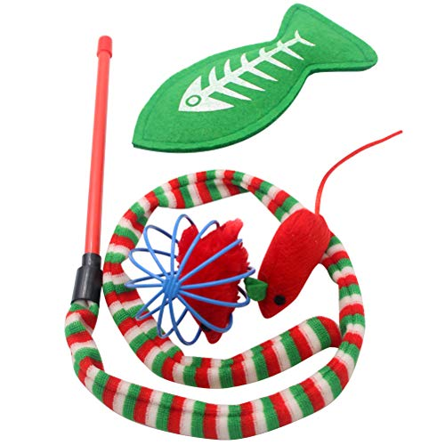 SCIROKKO Christmas Cat Toys Stocking Set for Cats, Includes Jingle Toy,Mice Ball,Catnip Fish,Feather Ball,Mylar Crinkle Ball,Cat Teaser Wand & More Cute Kitty Toys 4
