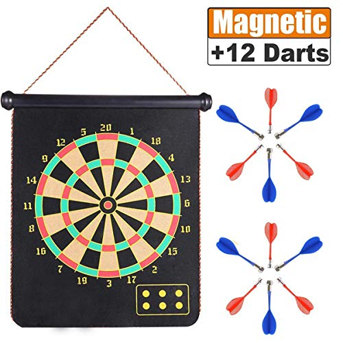 New ZS Yangmei Rollup Magnetic Dart Board for Kids and Adults with 12pcs Safe Darts, Double Sided an...