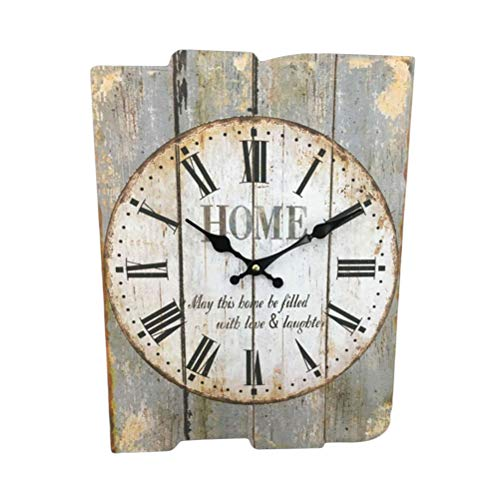 Vosarea Square Rustic Wooden Wall Clock Night Light Hanging Clock for Home Store Hotel Walnut Color No Battery - Clock Arabic Square