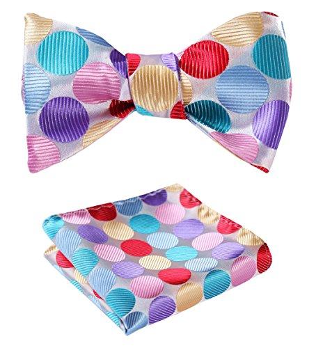 (SetSense Men's Polka Dot Jacquard Woven Self Bow Tie Set One Size Pink / Purple / Yellow /)