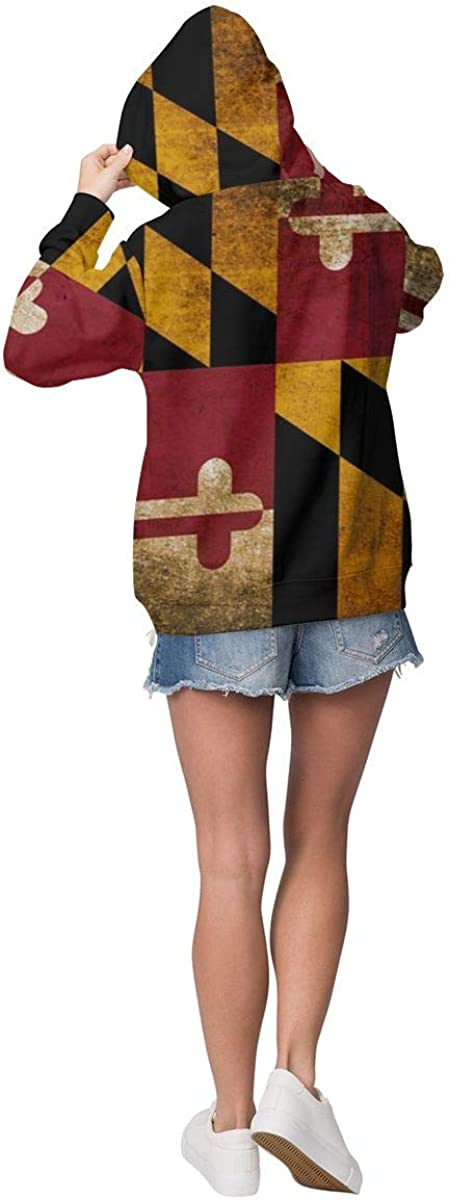 Flag of Maryland State Flag Womens Long Sleeve Pullover Hooded Sweatshirt Top Hoodie with Fleece Lining