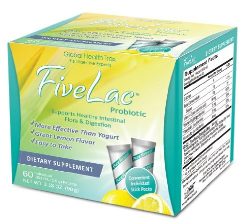 Fivelac Natural Probiotics Candida Solution with Acidophilus 5 Lac 60 Servings by Global Health Trax
