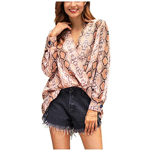 (Women Snakeskin Print Blouse Sexy V Neck Wrap Front Long Sleeve Loose Chiffon Pullover Shirt Top (Pink, XL (US 12~14)))