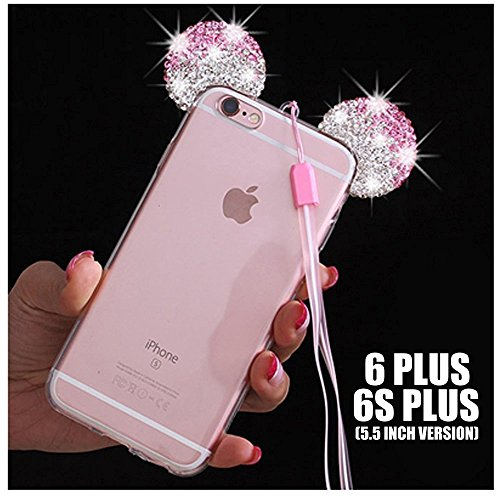 iPhone 5/5S/SE/6/6S/6+/6S PLUS Case, 3D Mickey & Minnie Mouse Crystal Diamond Bling Rhinestone Ears Clear TPU Rubber Silicone Cover with Lanyard & Stylus Pen (iPhone 6+/6S+ Plus) (Clear Rhinestone Iphone 5s Case)