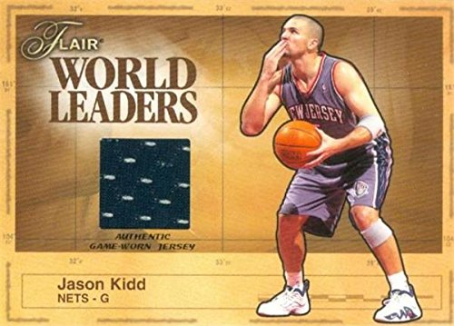 Jason Kidd player worn jersey patch basketball card (New Jersey Nets) 2003 Fleer Flair World Leaders #WLJK