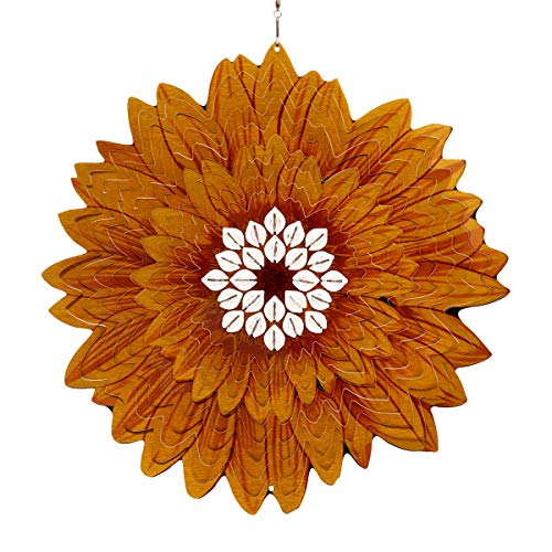 Exhart 3D Sunflower Wind Spinner - Laser Cut Metal Sunflower Hanging Décor w/White Accent Beads - Kinetic Art Hanging Wind Spinner, 3D Metal Art, Indoor/Outdoor Decor, 12 Inches