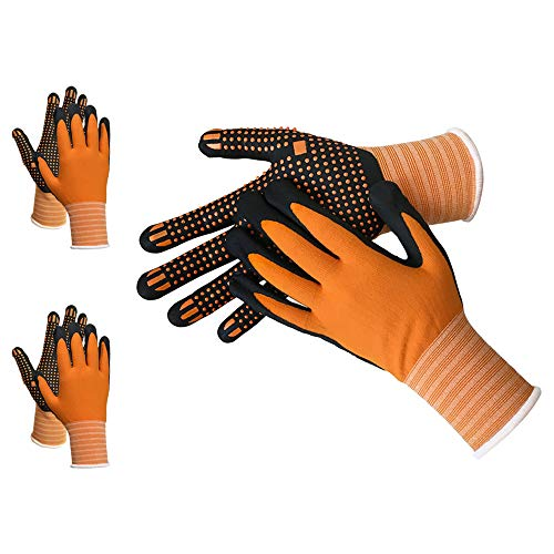 Grip Work Gloves - PROMEDIX - Anti-Abrasion Working Gloves With Dotted Palm and Finger (L, 2 -