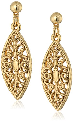 - 1928 Jewelry 14K Gold-Dipped Filigree Post Drop Earrings