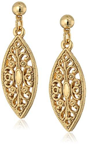 1928 Jewelry Aretes colgantes de filigrana bañados en oro de 14 quilates