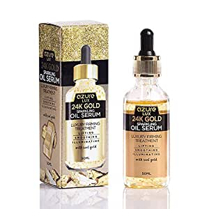 AZURE 24K Gold Anti Aging Sparkling Oil Serum – Lifting, Smoothing & Illuminating | Wrinkle, Fine Line & Acne Scar Reducing | Firms & Tones Skin – 50mL