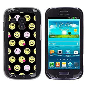 Planetar® ( Happy Smiley Face Funny Emoticon ) Samsung Galaxy S3 III MINI (NOT REGULAR!) / I8190 / I8190N Fundas Cover Cubre Hard Case Cover