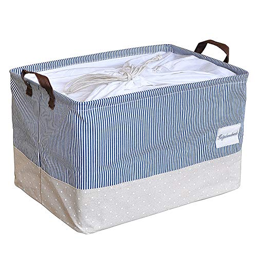 Handle Drawstring - Softlife Large Laundry Storage Baskets,Canvas Fabric Storage Cube Bin Set with Handles,Drawstring Square Cotton Linen Collapsible Cloth Toy Organizer 15